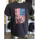 T-SHIRT STAMPA USA FLAG NERA